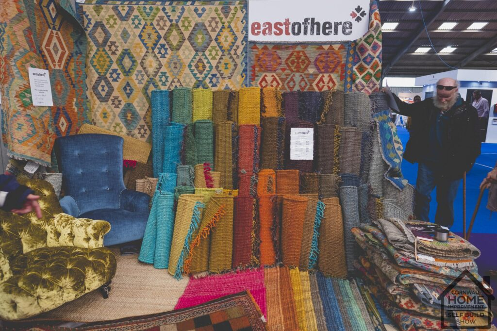 A large selection of colourful carpet and rugs at Cornwall Home Improvement & Self Build Show Interior Market