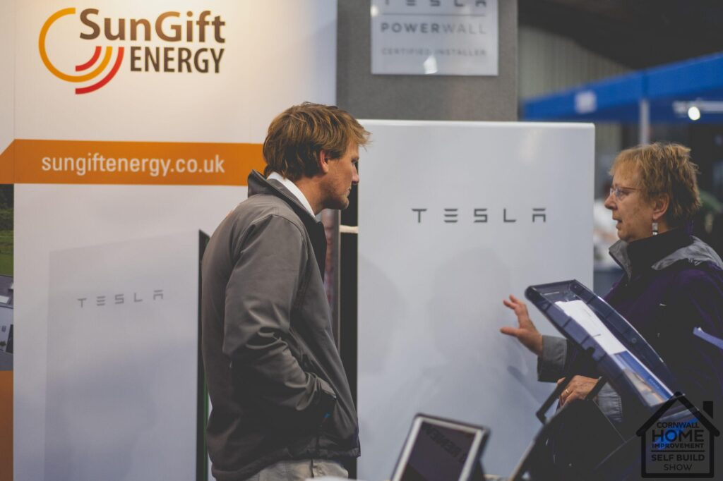 Tesla sun gift energy solutions at Cornwall Home Improvement & Self Build Show
