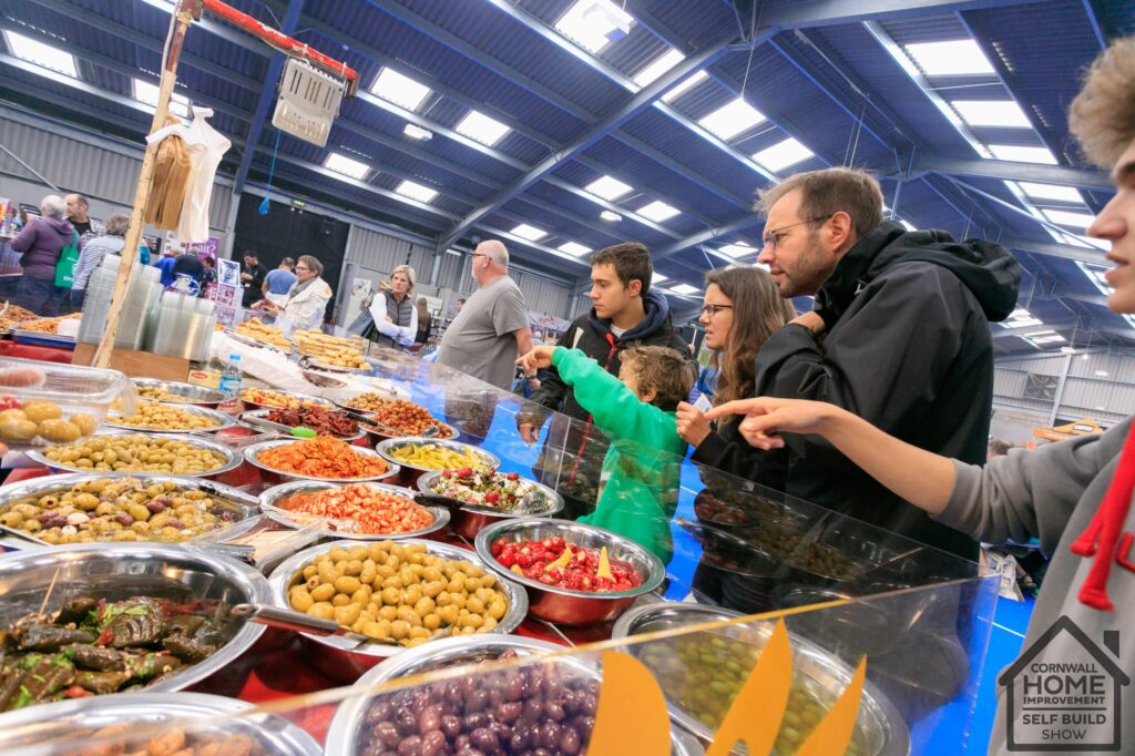 A yummy selection of olives and charcuterie at the food and drink market