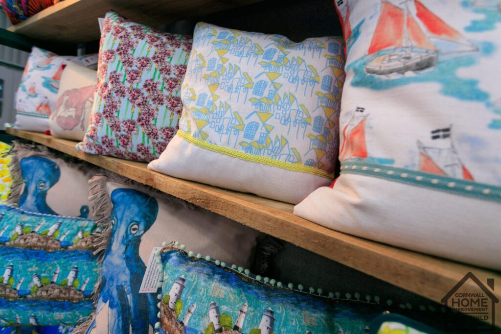 A selection of beautiful art pillows in the home interior market