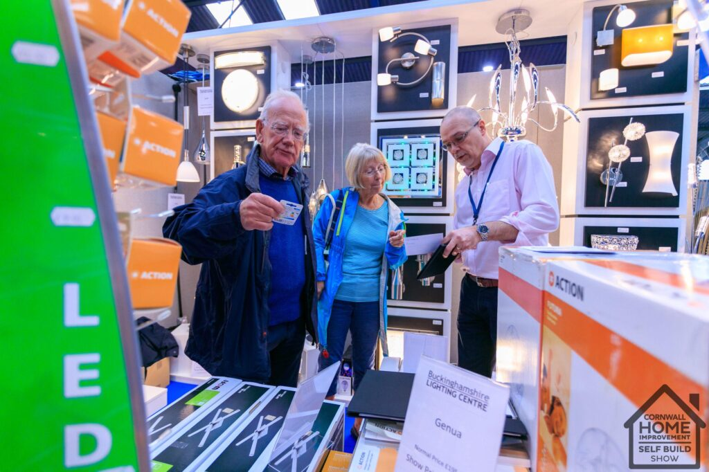 Home show visitors finding lighting solutions for their self-build project