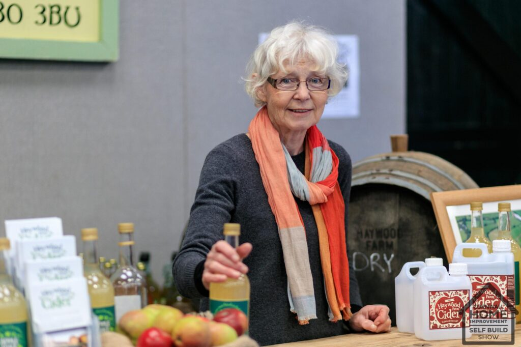 Cornish Cider maker at her exhibition stand at the food and drink market, A Bite of Cornwall